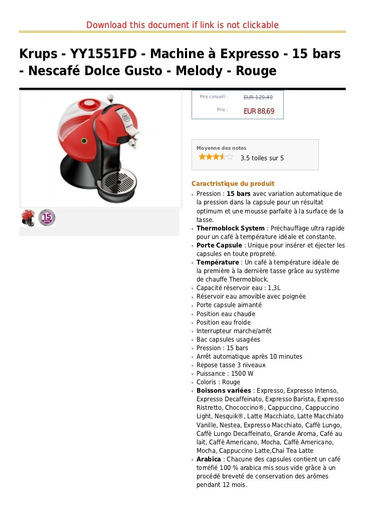 Download this document if link is not clickableKrups - YY1551FD - Machine à Expresso - 15 bars- Nescafé Dolce Gusto - Melo...