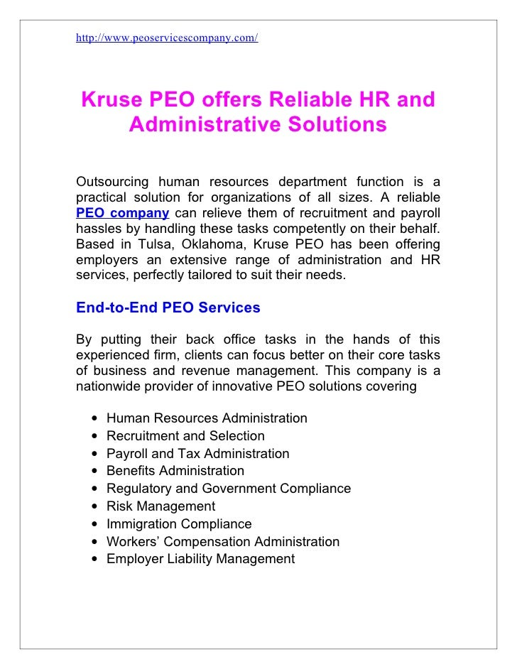 http://www.peoservicescompany.com/Kruse PEO offers Reliable HR and    Administrative SolutionsOutsourcing human resources ...