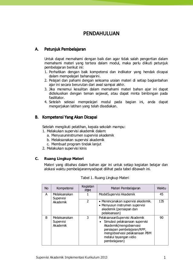 Supervisi Akademik Implementasi Kurikulum 2013 1 PENDAHULUAN A. Petunjuk Pembelajaran Untuk dapat memahami dengan baik dan...