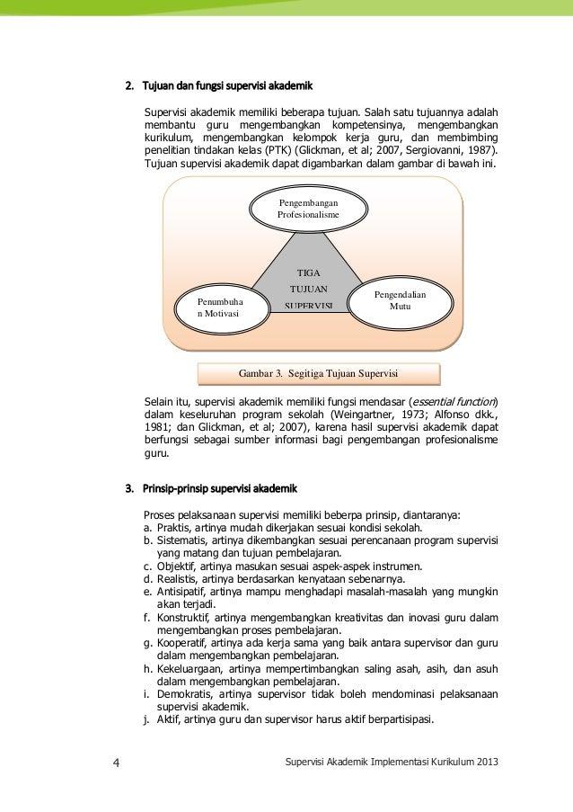4 Supervisi Akademik Implementasi Kurikulum 2013 2. Tujuan dan fungsi supervisi akademik Supervisi akademik memiliki beber...