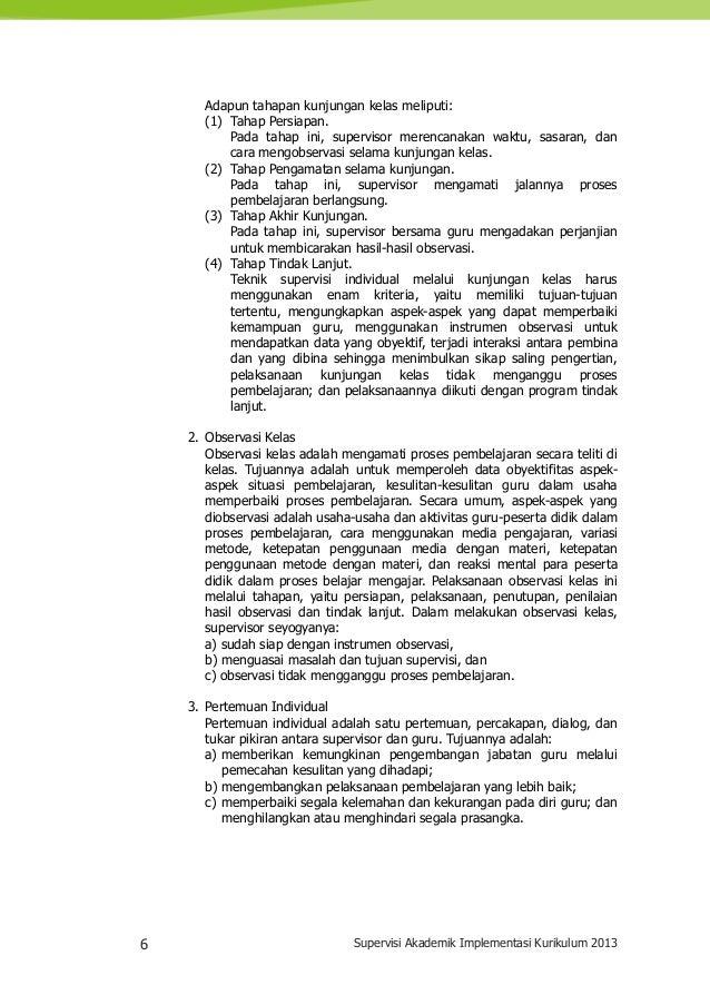 6 Supervisi Akademik Implementasi Kurikulum 2013 Adapun tahapan kunjungan kelas meliputi: (1) Tahap Persiapan. Pada tahap ...