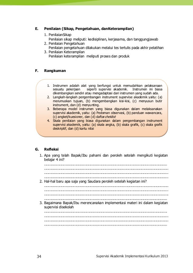 34 Supervisi Akademik Implementasi Kurikulum 2013 1. Instrumen adalah alat yang berfungsi untuk memudahkan pelaksanaan ses...