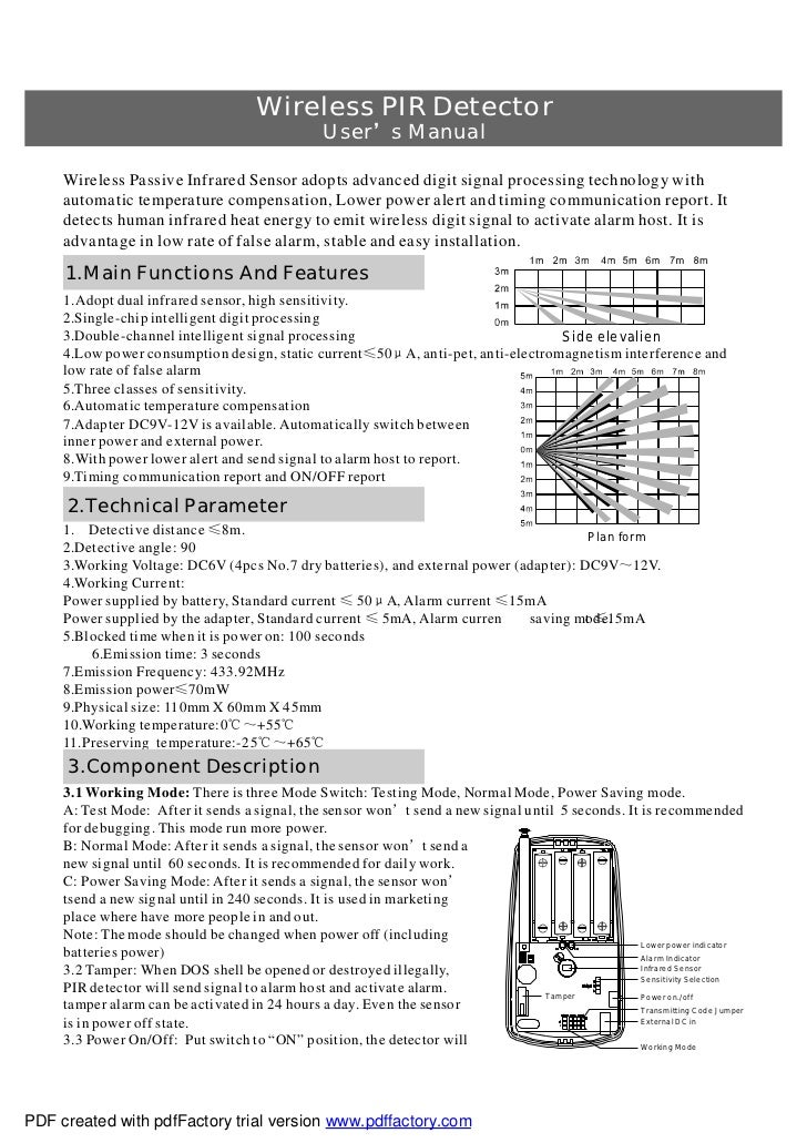 Wireless PIR Detector                                                  User's Manual     Wireless Passive Infrared Sensor ...