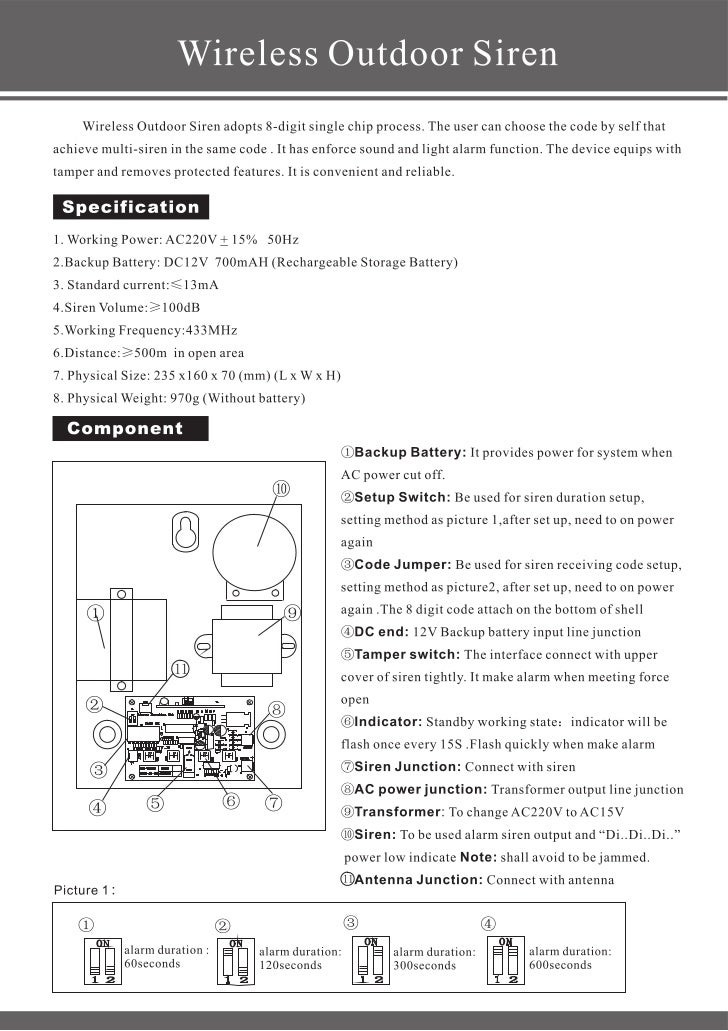 Ks 70 b-be wireless siren user's manual