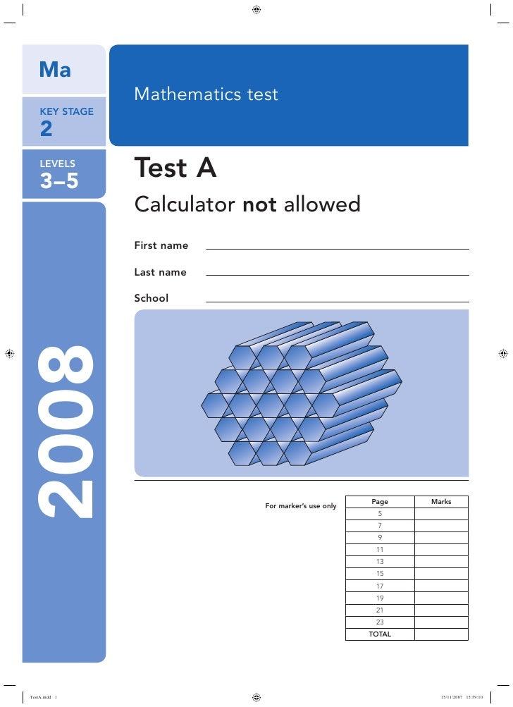 ks2 2008 maths test a no calculator. Black Bedroom Furniture Sets. Home Design Ideas