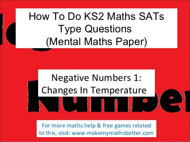 How To Do KS2 Maths SATs Type Questions (Mental Maths Paper) Negative Numbers 1: Changes In Temperature For more maths hel...