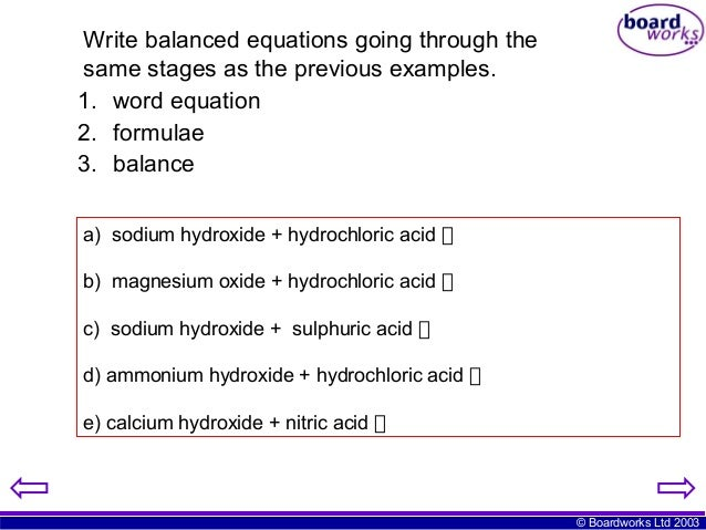 """The """"reaction of sodium hydroxide with hydrochloric acid"""""""