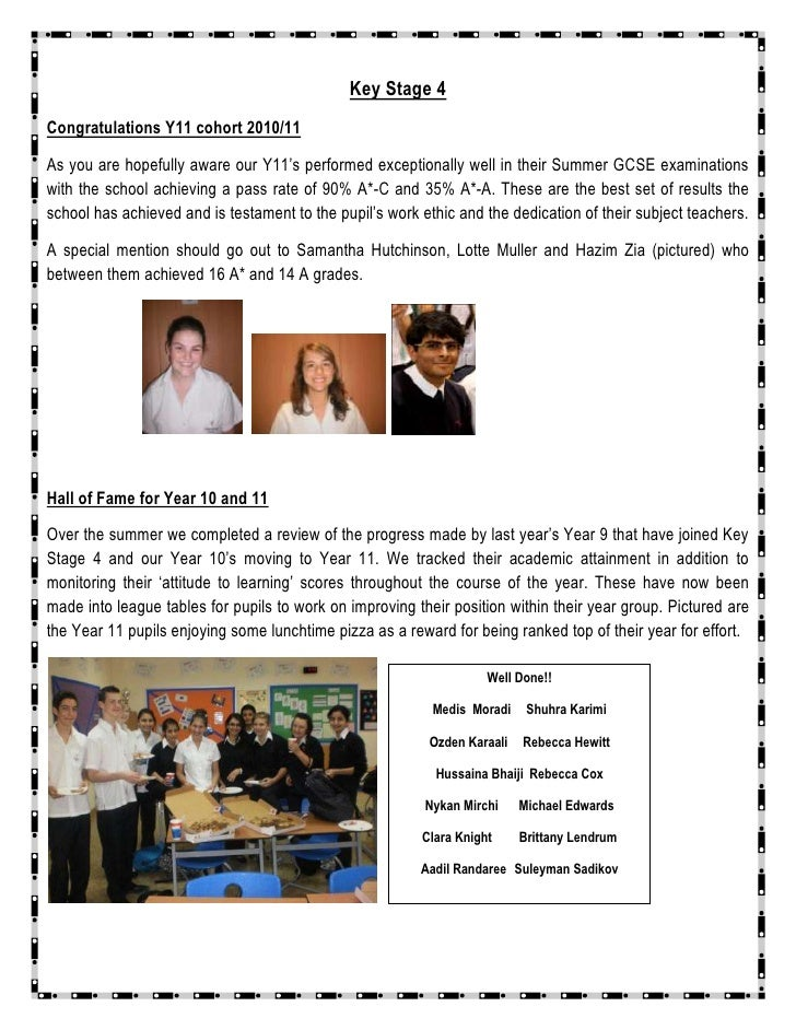 Key Stage 4<br />Congratulations Y11 cohort 2010/11 <br />As you are hopefully aware our Y11's performed exceptionally wel...