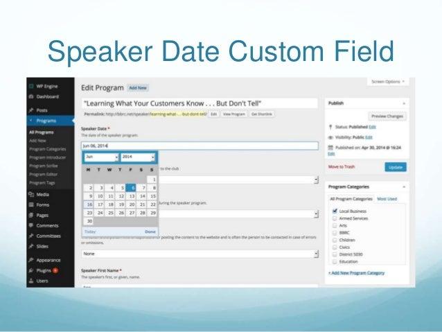 Speaker Date Custom Field
