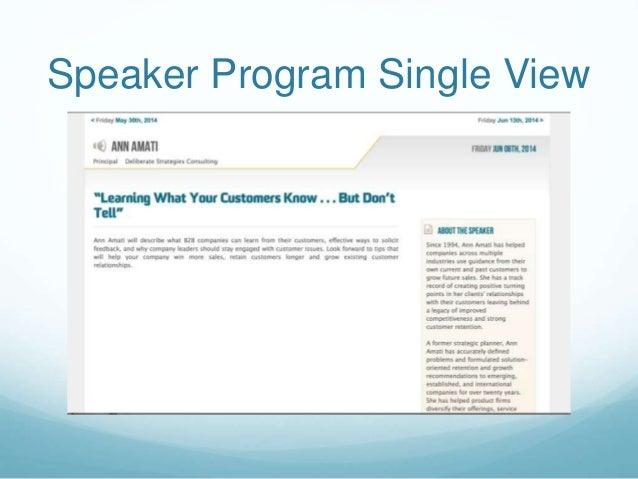 Speaker Program Single View