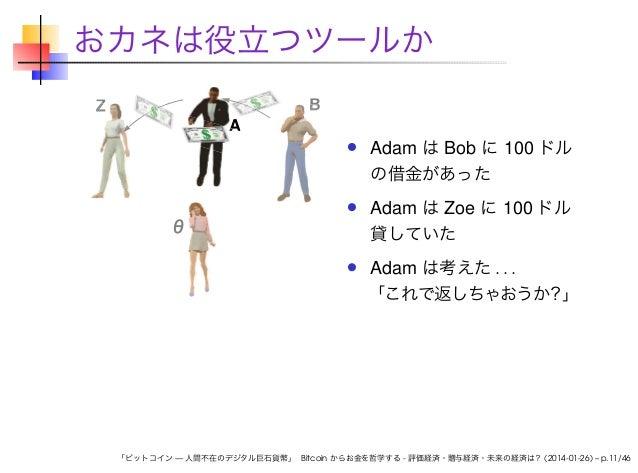 おカネは役立つツールか Z  A  B  Adam は Bob に 100 ドル の借金があった Adam は Zoe に 100 ドル 貸していた Adam は考えた . . . 「これで返しちゃおうか?」  「ビットコイン — 人間不在のデ...