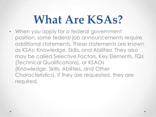 ksas and assessments