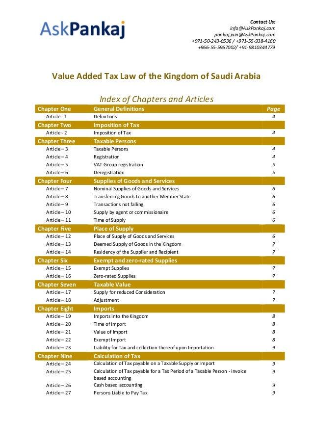 Kingdom Of Saudi Arabia Ksa Value Added Tax Vat Law