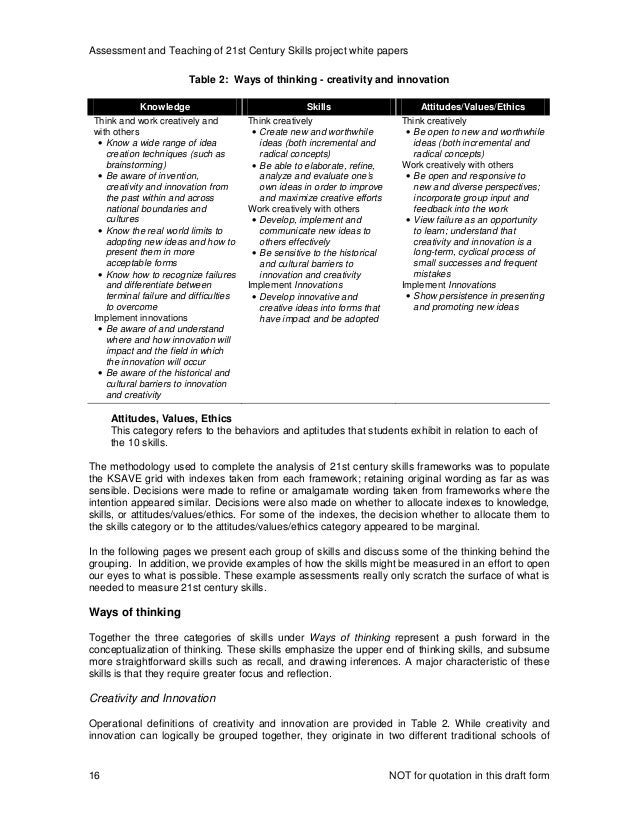 Assessment and Teaching of 21st Century Skills project white papers NOT for quotation in this draft form16 Attitudes, Valu...