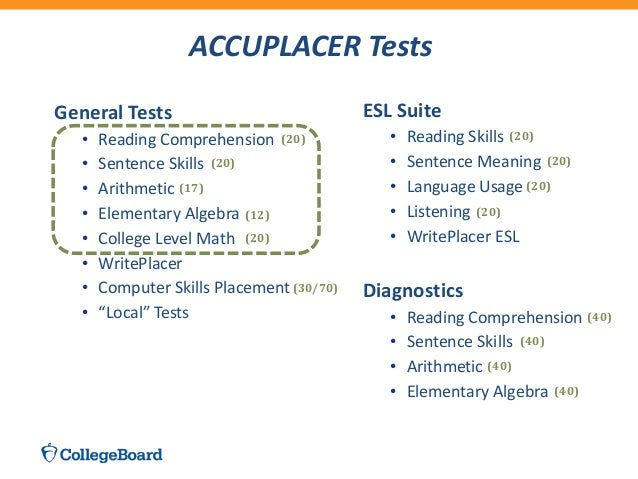 accuplacer test The accuplacer measures your skill levels in reading comprehension and academic writing this assessment will help you and your counselor determine which classes will.
