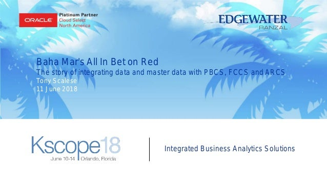 Integrated Business Analytics Solutions Baha Mar's All In Bet on Red The story of integrating data and master data with PB...