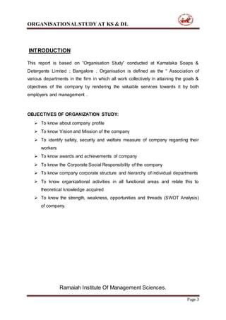 KARNATAKA SOAPS & DETERGENTS LIMITED (KS&DL) Internship report (manoj…