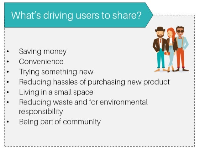 What's driving users to share'?       Saving money :  E- Convenience - Trying something new '4' E- Reducing hassles of pur...