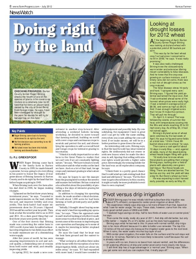 8 www.FarmProgress.com – July 2012  Kansas Farmer  NewsWatch  Looking at drought losses for 2012 wheat  Doing right by the...