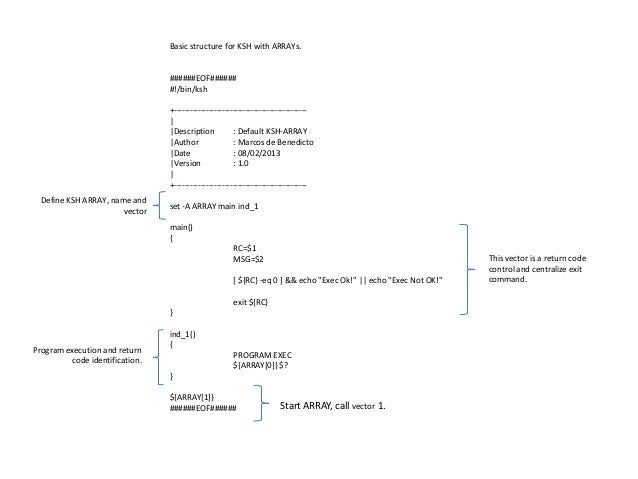 Basic structure for KSH with ARRAYs.                                 ######EOF######                                 #!/bi...