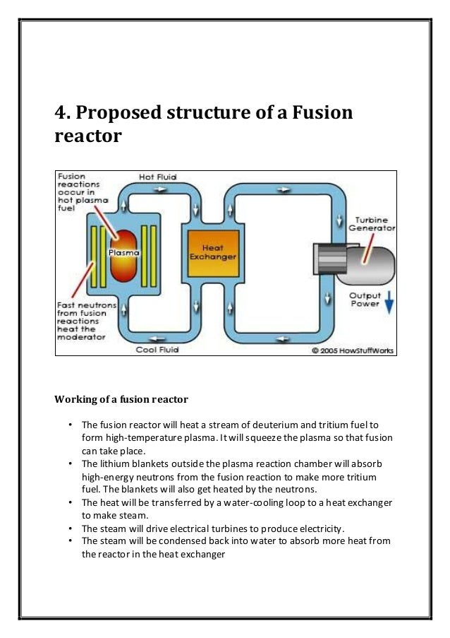 4. Proposed structure of a Fusion reactor Working of a fusion reactor • The fusion reactor will heat a stream of deuterium...