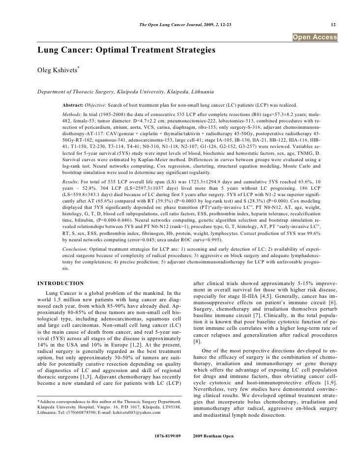 The Open Lung Cancer Journal, 2009, 2, 12-23                                            12                                ...