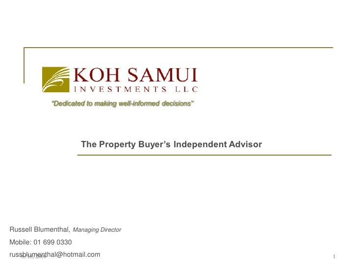 """Dedicated to making well-informed decisions""                            The Property Buyer's Independent Advisor     Russ..."