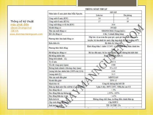 Thông số kỹ thuật máy phát điện diesel Shangchai Slide 3