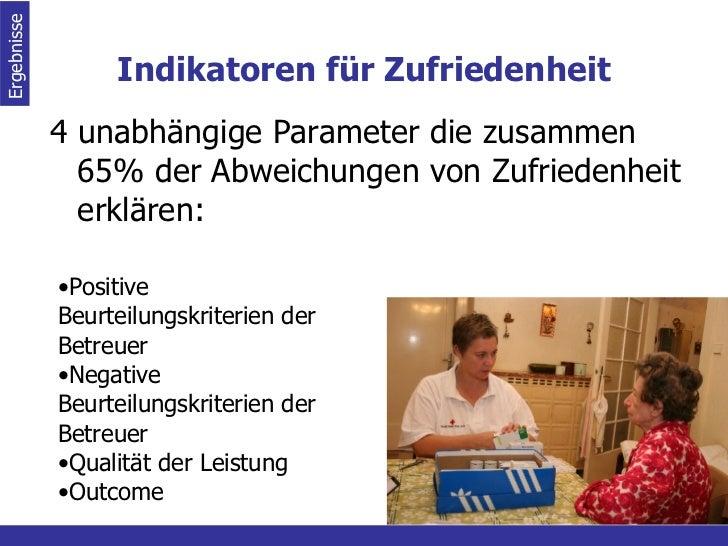 Indikatoren für Zufriedenheit <ul><li>4 unabhängige Parameter die zusammen 65% der Abweichungen von Zufriedenheit erklären...