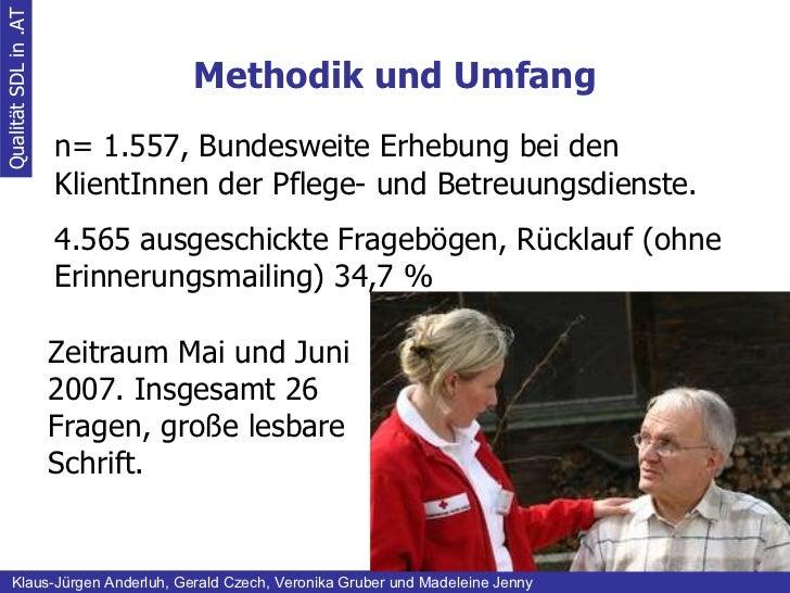 Methodik und Umfang Qualität SDL in .AT Klaus-Jürgen Anderluh, Gerald Czech, Veronika Gruber und Madeleine Jenny n= 1.557,...