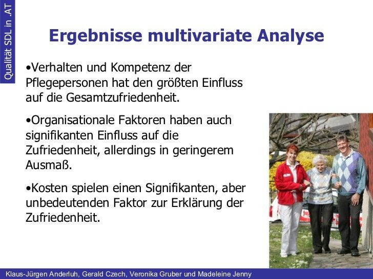 Ergebnisse multivariate Analyse Qualität SDL in .AT Klaus-Jürgen Anderluh, Gerald Czech, Veronika Gruber und Madeleine Jen...