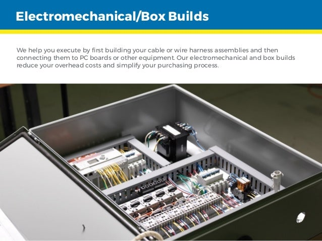 Electromechanical/Box Builds We help you execute by first building your cable or wire harness assemblies and then connecti...