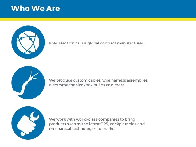 KSM Electronics is a global contract manufacturer. We produce custom cables, wire harness assemblies, electromechanical/bo...