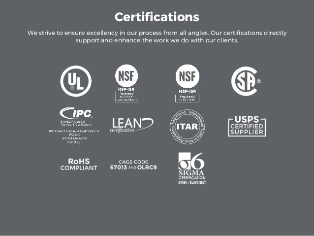 Certifications We strive to ensure excellency in our process from all angles. Our certifications directly support and enha...