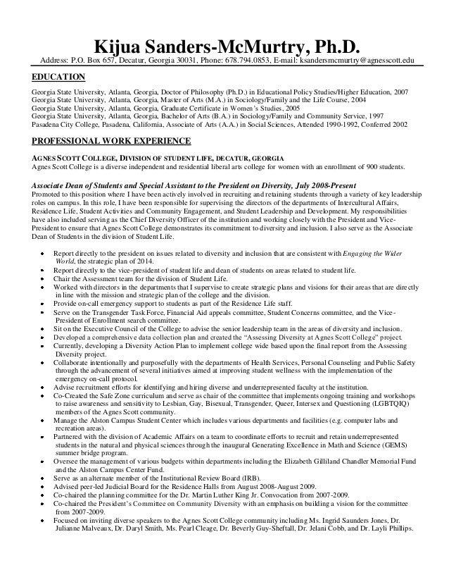 Kijua Sanders-McMurtry, Ph.D. Address: P.O. Box 657, Decatur, Georgia 30031, Phone: 678.794.0853, E-mail: ksandersmcmurtry...