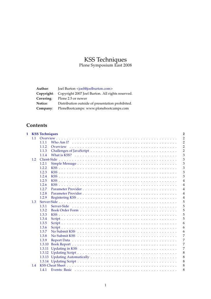 KSS Techniques                                     Plone Symposium East 2008            Author:       Joel Burton <joel@jo...