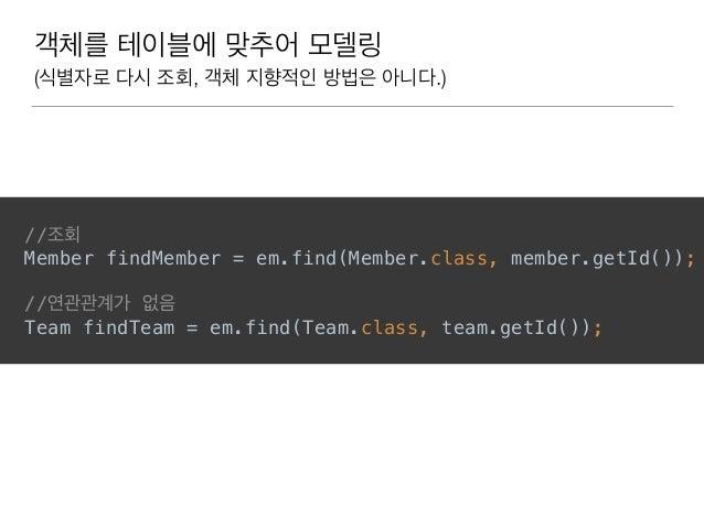 객체를 테이블에 맞추어 모델링 (식별자로 다시 조회, 객체 지향적인 방법은 아니다.) //조회 Member findMember = em.find(Member.class, member.getId()); //연관관계가 없...