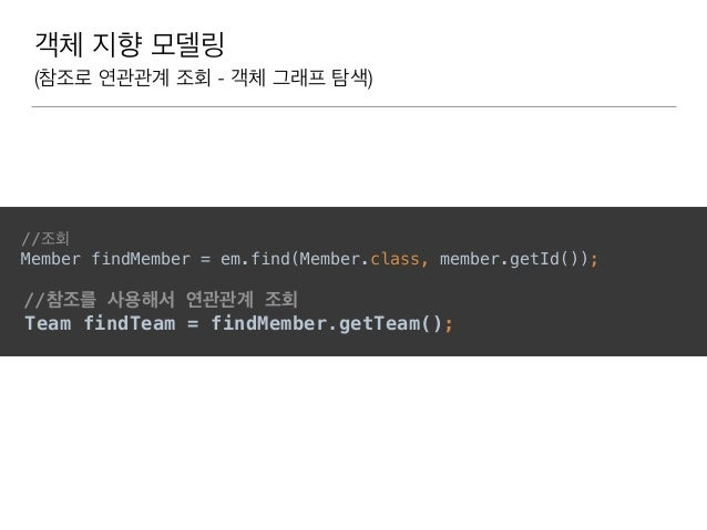객체 지향 모델링 (참조로 연관관계 조회 - 객체 그래프 탐색) //조회 Member findMember = em.find(Member.class, member.getId()); //참조를 사용해서 연관관계 조회 T...