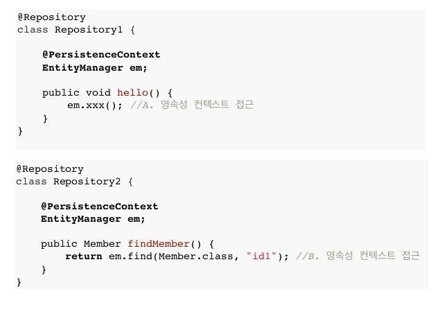 @Repository class Repository1 { @PersistenceContext EntityManager em; public void hello() { em.xxx(); //A. 영속성 컨텍스트 접근 } }...