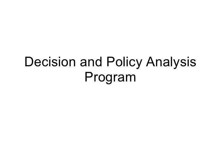 Decision and Policy Analysis Program