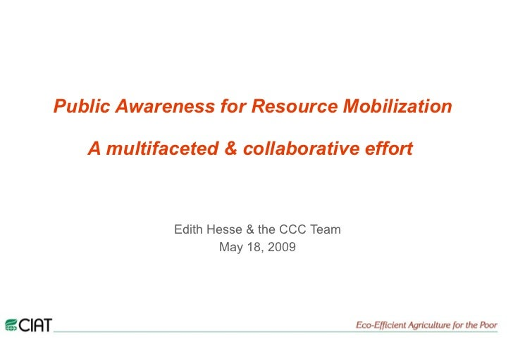 Public Awareness for Resource Mobilization   A multifaceted & collaborative effort   Edith Hesse & the CCC Team May 18, 2009
