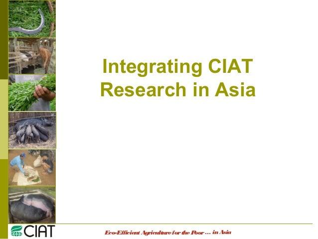 Eco-EfficientAgricultureforthePoor Integrating CIAT Research in Asia … inAsia
