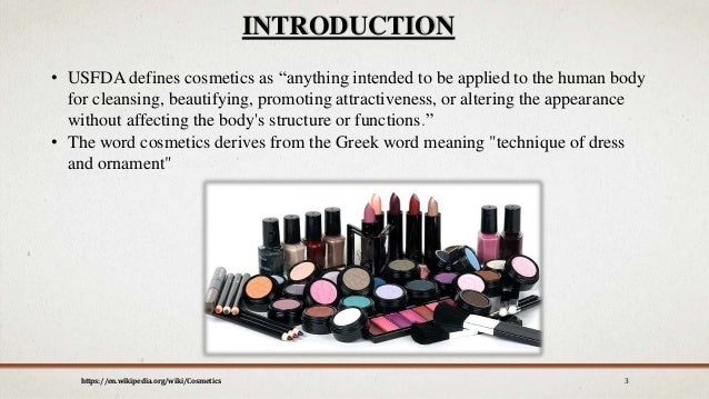 Ingredients used in cosmetics