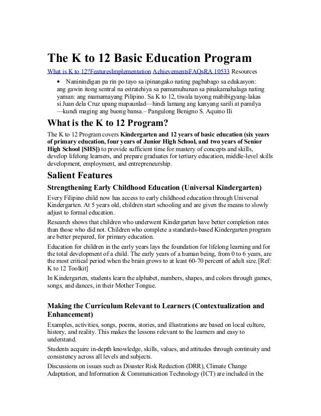 thesis statement about k to 12