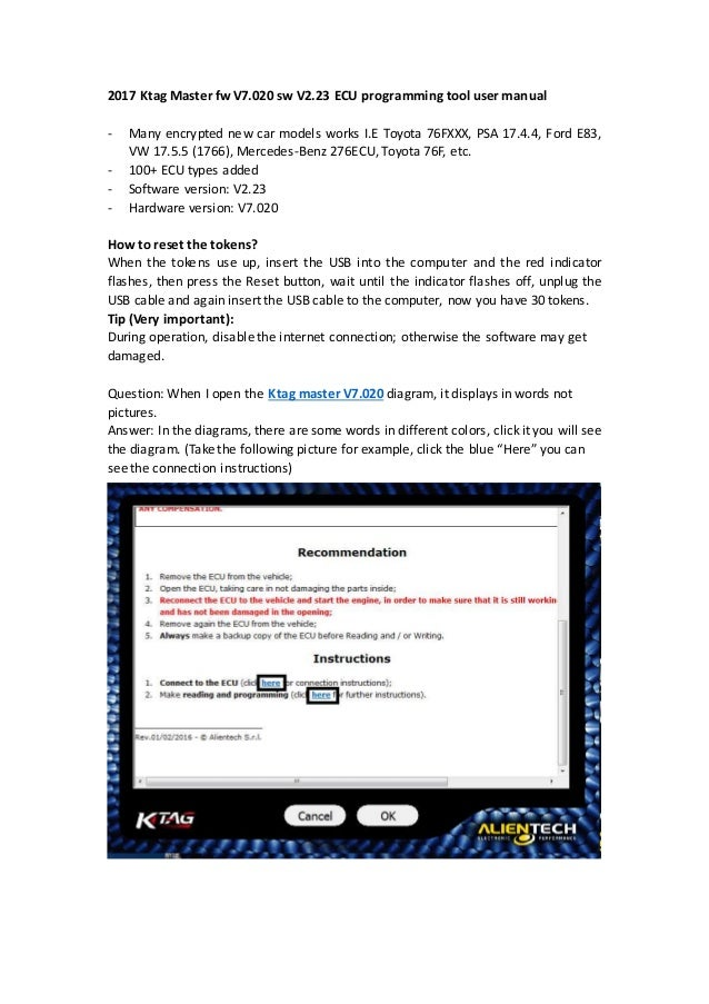KTAG V7 020 ECU Programming Tool user manual