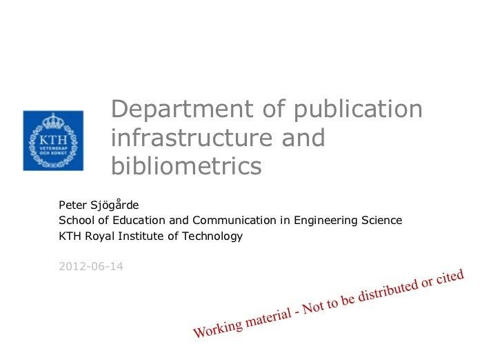 Department of publication        infrastructure and        bibliometricsPeter SjögårdeSchool of Education and Communicatio...