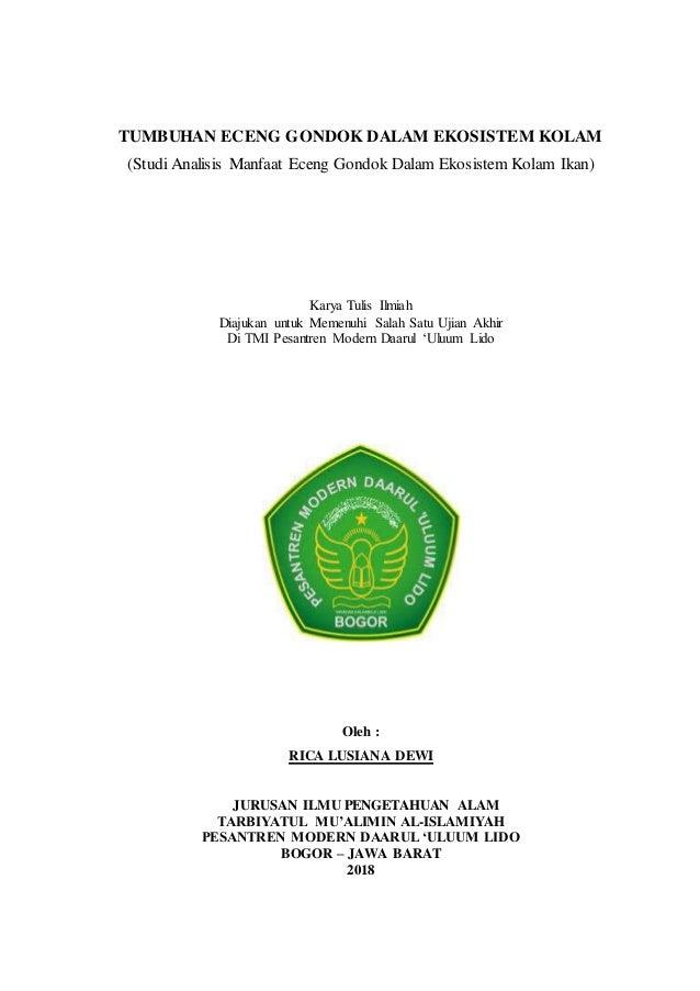 Karya Tulis Ilmiah Tumbuhan Eceng Gondok