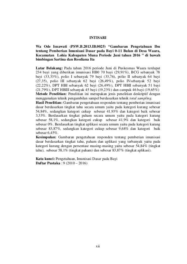"xii INTISARI Wa Ode Isnawati (PSW.B.2013.IB.0025) ""Gambaran Pengetahuan Ibu tentang Pemberian Imunisasi Dasar pada Bayi 0-..."
