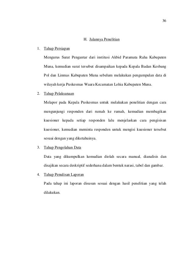 36 H. Jalannya Penelitian 1. Tahap Persiapan Mengurus Surat Pengantar dari institusi Akbid Paramata Raha Kabupaten Muna, k...