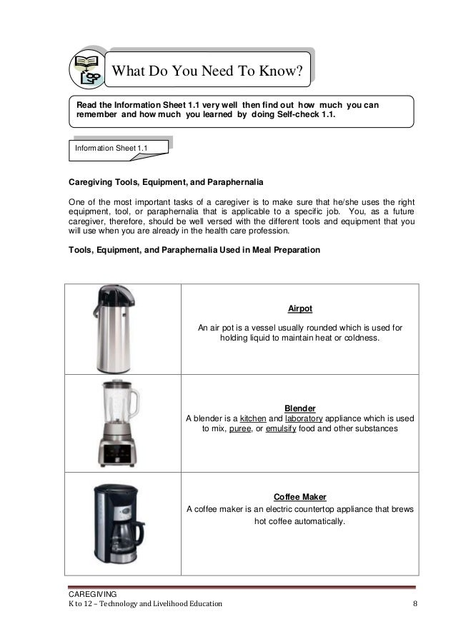 Kitchen Tools And Equipment With Meaning k to 12 caregiving learning modules